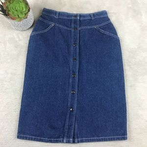 Cheryl Tiegs Vintage Denim Snap Front Skirt